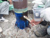 H28 施工中 長府中六波町11号線ほか1線道路維持修繕工事 仕上げ塗料塗布状況