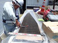 H28 施工中 長府中六波町11号線ほか1線道路維持修繕工事 炭素繊維加工状況